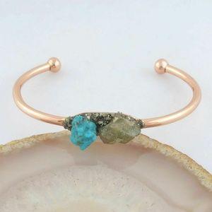 Natural Turquoise & Apatite Stone Rose Gold Bangle